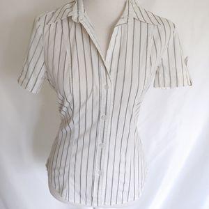 New York & Company White Stripe Button Down Top
